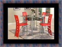 Red counter height table with 4 chairs UNIVERSITY PA, 20782