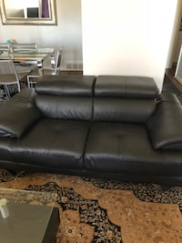 Real Leather Black Loveseat! (Like New)