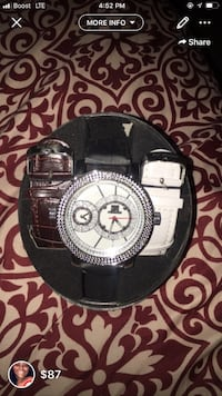 round silver-colored chronograph watch with black leather strap Hyattsville, 20785