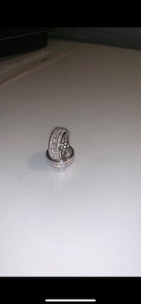 3 Layer Rotating Band Rings In 14k White Gold With CZ Diamonds