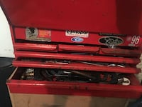 red metal tool chest
