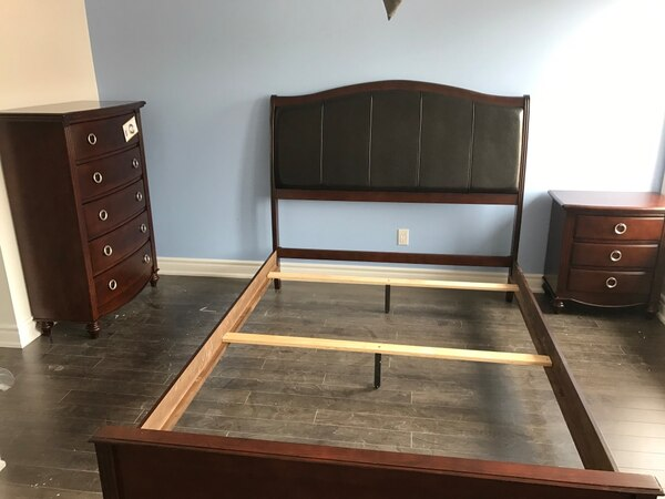 Brand new in box queen wooden bed frame with free box warehouse sale