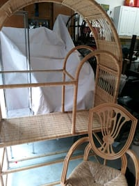 Entertainment Center Rattan Wicker with Straw bottom Chair