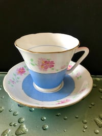 Vintage Royal Grafton hand painted bone china tea cup and saucer.