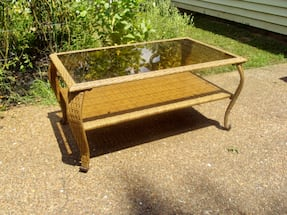 Outdoor Table- Resin w/glass top
