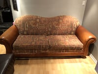 Leather and fabric couch -OBO