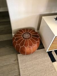 West Elm leather poof Roseville, 95747