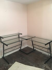 Clear glass-top sectional desk