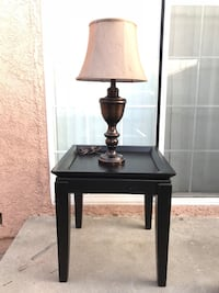 Black side tables with expresso table lamp Norwalk, 90650