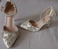 pair of silver-colored closed-toe heels Greater London, SW17 7LZ