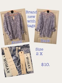 women's blue and grey floral scoop-neck long-sleeved blouse Charleston, 25304