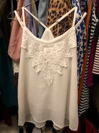 women's white spaghetti strap top