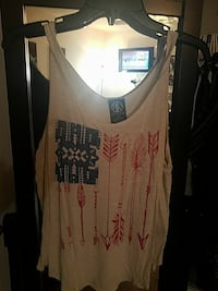 women's white, red, and black tank top with bow arrow print Madera, 93638