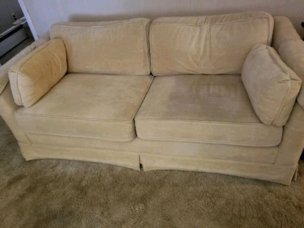 Light Yellow Fabric 2 Seat Sofa Pull Out Bed