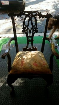 brown wooden framed brown floral padded chair Rockville, 20854