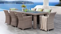 White and Grey Wicker 9x Dining Set Cement GreySunbrella- Brand New Factory direct! $2849 instead of $4450! Outdoor Patio Furniture Ontario, 91761