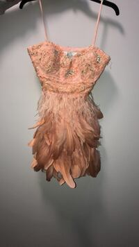 FEATHER PROM DRESS strapless
