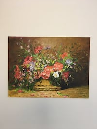 "Flower basket oil painting 9"" x 12"" ( 23 x 31cm) Vaughan, L4L"