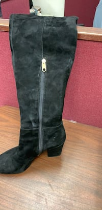 black leather side zip boots