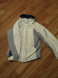white and gray button-up jacket