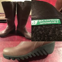 Pair brown leather side zip boots Edmonton, T5A 4X2