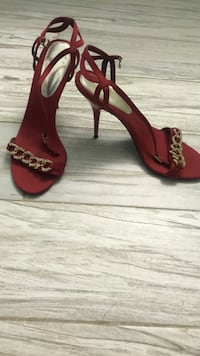 pair of red leather open-toe ankle strap heels East Honolulu, 96825