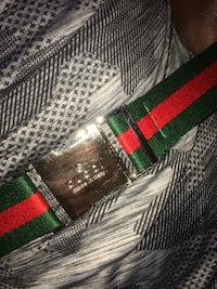 Green and red webbed belt