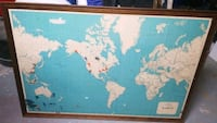 Framed vintage world map. Pin your world exploits for all to see.   Louisville, 37777