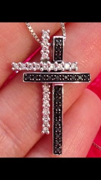 Double Diamond Cross (White and Black Diamonds), Set in White Gold, with White Gold Chain Toronto, M2N 1H7