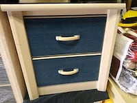 blue and white wooden 3-drawer chest