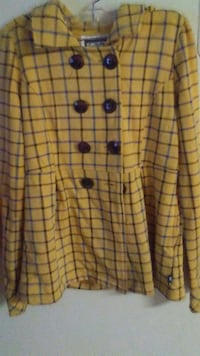 yellow and black plaid long-sleeved dress