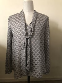 Gray and white houndstooth print dress shirt  Spring Valley, 10952