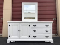 White Solid Wood Long Dresser With Mirror Manassas