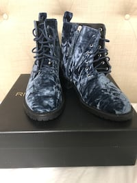 Rebecca Minkoff brand new never worn crushed velvet blue booties. Toronto, M9R 1L9