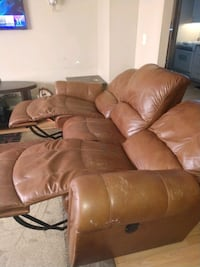 Double reclining leather electric couch