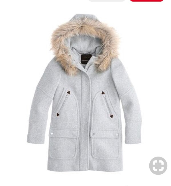white and gray zip-up parka jacket
