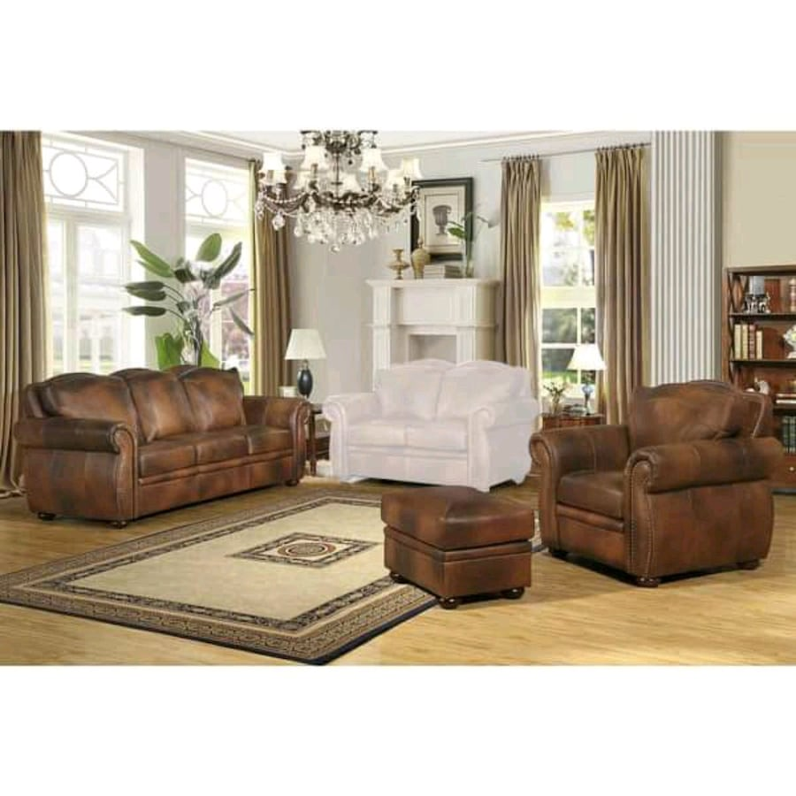 Leather couch, love seat, chair no foot rest .