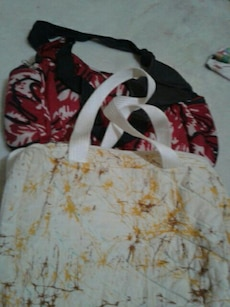 women's two red and white shoulder bag