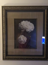 brown wooden framed painting of white flower null