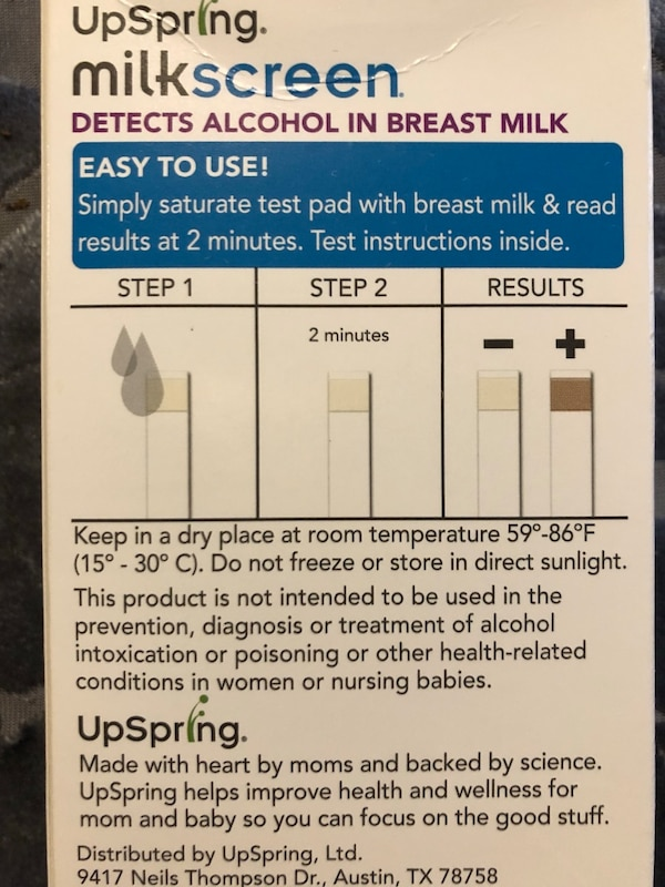 Alcohol test strips for breast milk