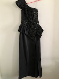 Vintage mike benet black sequin  bow formal/prom/Halloween gown