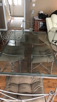 rectangular glass top table with gray metal base Canonsburg, 15317