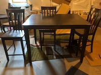 Rectangular brown wooden table with four chairs dining set Hilton, 14468