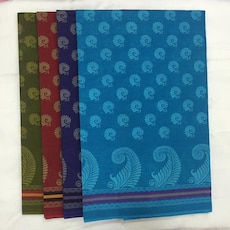 blue, purple, red and green textiles