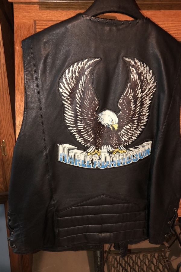 Harley Davidson Sz L Leather Vest 1