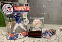 Jose Bautista Signed Game Used Baseball w. Collectible & Bat Flip Card