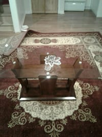 brown wooden frame glass top coffee table Richmond Hill, L4E 3T7