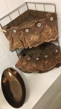 Brown floral lace 2-layer rack, comes with an amazing toilet accessory bowl London, W9 2LW