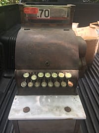 Black and gray electric guitar amplifier. And and oh fashion cash register 1950s if you need pictures of the guitar stuff let us no Rocky Point, 11778