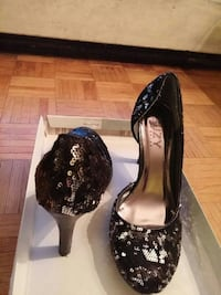 pair of sequined black high-heeled sandals Toronto, M3N 2T8